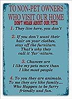 ナンシーグレートティンサインペットお知らせ(ルール)壁サインプラークアート子犬かわいいふわふわペットハウスラブインテリアアルミ金属サイン壁の装飾
