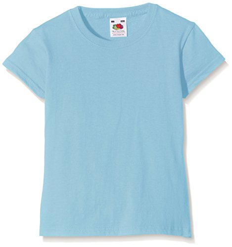 Fruit of the Loom Valueweight - T-Shirt Fille, Bleu (Sky Blue), 7/8 ans