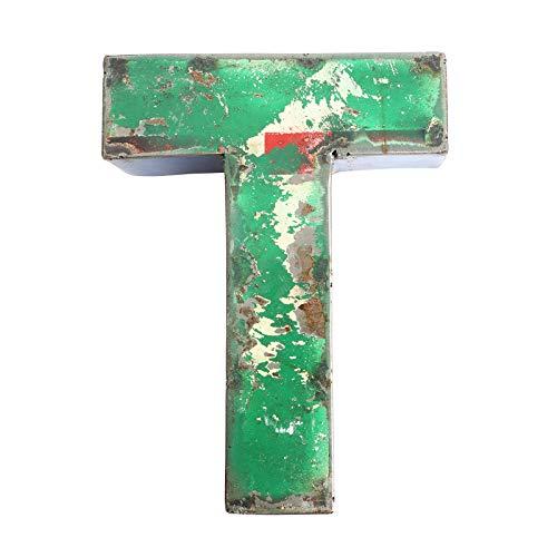Boogs Metallbuchstabe T im Vintage Stil | Retro Buchstaben aus Metall | Industrial Deko Metallbuchstaben | Dunkelgrün auch in Anderen Farben