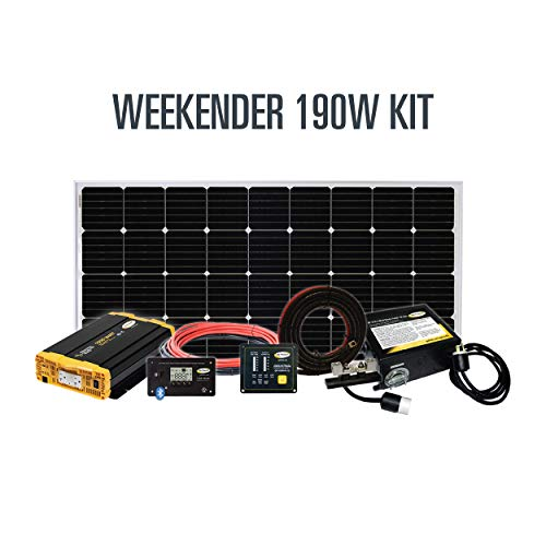 Go Power! Weekender ISW Complete Solar and Inverter System with 190 Watts of Solar