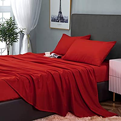 GLETU Queen Size Bed Sheet Sets - Soft Brushed Microfiber Bedding Sets - Wrinkle Fade Stain Resistant - Cooling and Comfy 4 Piece Bed Sets (Queen, Wine Red)