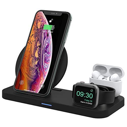 2020年最新ワイヤレス充電器3in1AppleWatch充電スタンド折り畳み式スタンド【PSE認証済】無線ワイヤレス充電器ワイヤレスチャージャーiPhone11/11pro/iPhoneX/iPhoneXS/iPhoneXR/iPhoneXSMax/iPhone8/iPhone8Plus等、GalaxyS9/S9Plus/Note9/Note8/S8/S8Pl