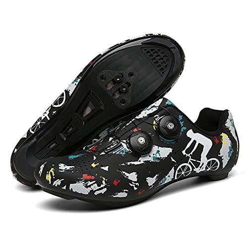 DSMGLSBB Zapatos para Hombre Ciclismo, Respirable Zapatos Bici del Camino, con Autobloqueo De Encaje Rápido Calas SPD Compatibles Carretera SPD Gire La Cuerda De Zapatos,Road,38