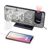EVILTO Projection Alarm Clock for Bedroom Ceiling Digital Alarm Clock Radio with USB...