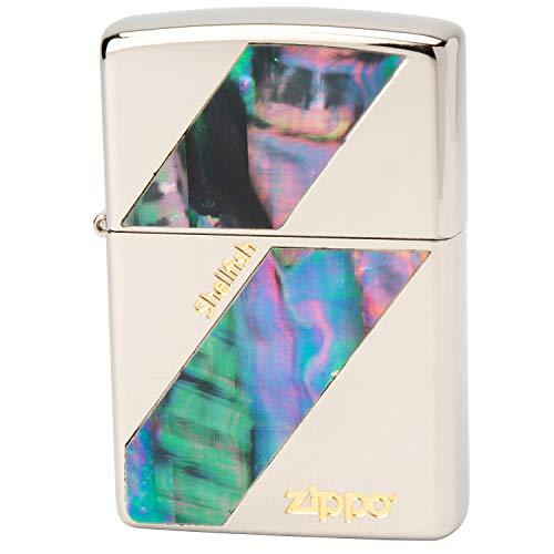 ZIPPO(ジッポー) ライター シルバー 両面加工 貝貼り ニッケル N-D 高さ5.5cm×幅3.8cm×奥行き1.3cm