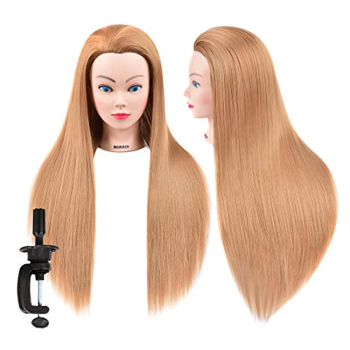 Mannequin Head for Hair Styling and Free Table Stand Training Head Manikin Cosmetology Doll Head with Long Fiber Hair Hairdresser Practice Head for Stylists Salon Students Kids Beauty Schools(#27)