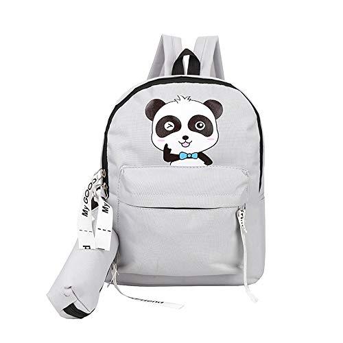 Watopi Cute Panda Pattern Backpack with Pencil Bag, Cartoon Animals Backpacks for Boys&Girls Kids Lightweight Multicolour Comic Animal Zipper Shoulder Bag for Toddler Children Back to School