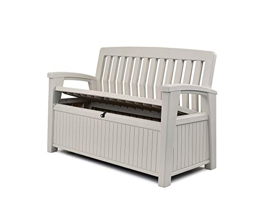 Keter Resin Storage Bench - Plastic Patio Seating, White