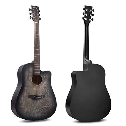 Winzz 41 Pulgadas Guitarra Acústica Full Size Vintage Grabado, Principiantes Guitarra Folk con Bolsa Acolchada, Soporte de Guitarra, Afinador, Pastilla, Correa, Púas