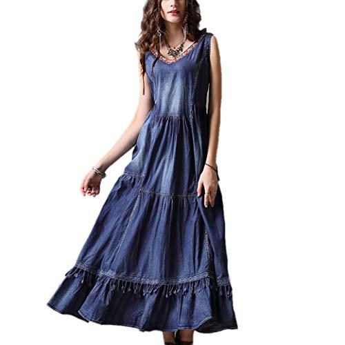 Valin Damen Bestickt Swing Jeanskleid Ohne Arm Kleid,DA82091,Blau,S