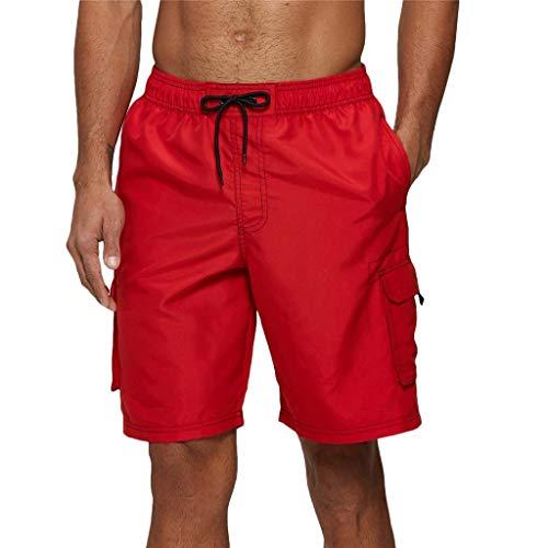 Arcweg Badehose für Herren Lang Mehr Taschen Badeshorts Männer Wasserabweisend Boardshorts Schnelltrocknend Jungen Beachshorts Bermudas mit Tunnelzug Rot L(EU)-MarkeGröße XL