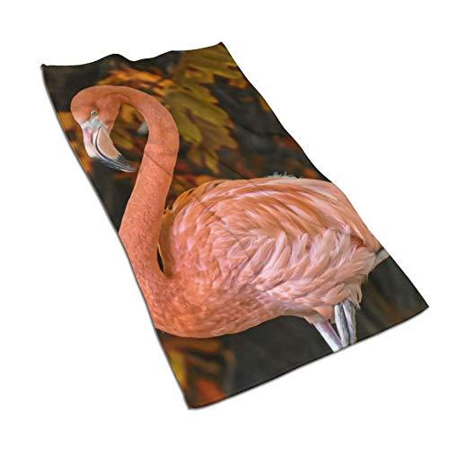 Toalla de baño de microfibra de plumas coloridas de flamenco, 15.7 x 27.5 pulgadas, suave, súper absorbente y de secado rápido, uso multiusos para deportes, viajes, fitness, yoga
