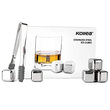 Kollea Stainless Steel Chilling Cubes Reusable Ice Cube Whiskey Stones for Drinks with Ice Tongs and Freezer Storage Tray for Whiskey  8 Pack