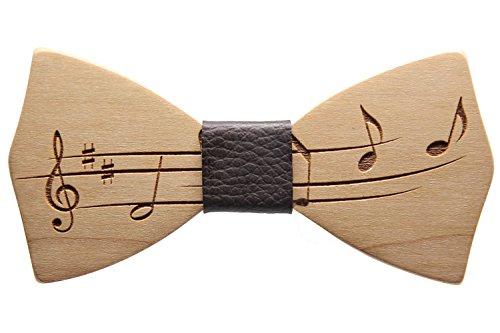 Papillon in legno di cilieggio con nodo in pelle marrone accessori moda cerimonia mod.music