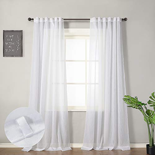 """MYSKY HOME Crushed Voile Sheer Curtains for Living Room Back Tab and Rod Pocket Window Treatment Crinkle Sheer Curtains(2 Panels, 51"""" x 95"""", White)"""
