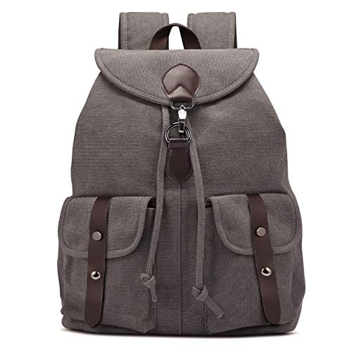 AtailorBird 23L Vintage Canvas Backpack for Men, 15 inch Laptop Large Capacity Rucksack Knapsack Military Shoulder Bag for Casual Hiking Travel School, Grey