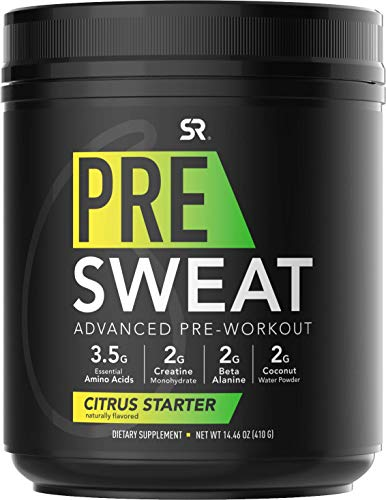 PRE Sweat Advanced Pre-Workout Energy Powder | 9 Essential Amino Acids, Organic Caffeine + L-theanine with German Sourced Creatine, Beta-Alanine, Acetyl- L-Carnitine & Tart Cherry (Citrus Starter)