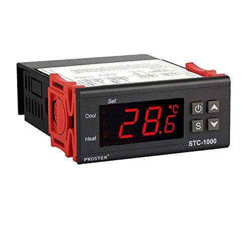 Proster Digitaler Temperaturregler STC-1000 Temperatur Regler Heizen oder Kühlen Temperature Controller Thermostat Thermoelement mit Temperaturfühler Sensor Sonde für Aquarium
