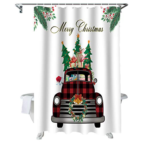 WARM TOUR Christmas Red Buffalo Car Bathroom Shower Curtains Polyester Fabric, Garland and Berries Home Decorative Waterproof Bath Curtain Set with Hooks 36×72Inch