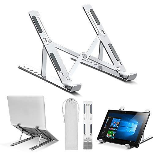 Laptop Ständer, Multi-Winkel Verstellbar und Belüftung, Tragbarer Aluminium Notebook Ständer Kompatibel mit MacBook Air Pro, Huawei, Lenovo, Dell, HP, Samsung