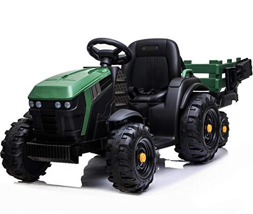 Mondial Toys Maxi Trattore Elettrico 12V 7AH CAVALCABILE per Bambini con RIMORCHIO Telecomando Verde