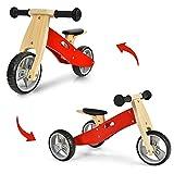 COSTWAY Tricycle et Draisienne en Bois 2-en-1, Vélo pour Enfants sans Pédales avec Siège Réglable, Roues Antichocs et Antidérapantes, Convient pour Enfants de 18 Mois à 3 Ans