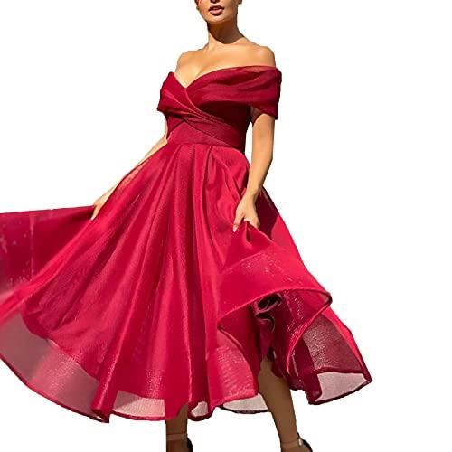 KeYIlowys Damen Chiffonkleid, Einfarbiges Kleid Mit RaglanäRmeln