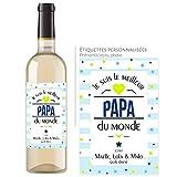 Bouteille de vin personnalisée avec prénom - Cadeau fête des pères - meilleur papa du monde