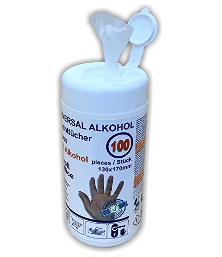ProfiOffice universal Alkohol getränkte feuchte Einweg-Allzweck-Tücher 100 Tücher in Spenderdose (19888)