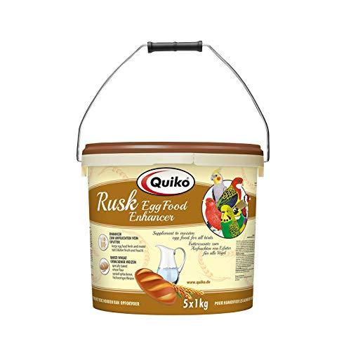 Quiko Rusk 5000g (5 x 1kg) - Spezialfutterzusatz zum Anfeuchten von Eifutter, Aufzuchtfutter & Weichfutter für Ziervögel & Brieftauben