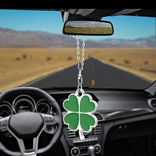 Green Four Leaf Clover Car Charm Rear View Mirror Accessories,Car Mirror Hanging Ornaments Decoration,Key Charm Good Luck Leaf
