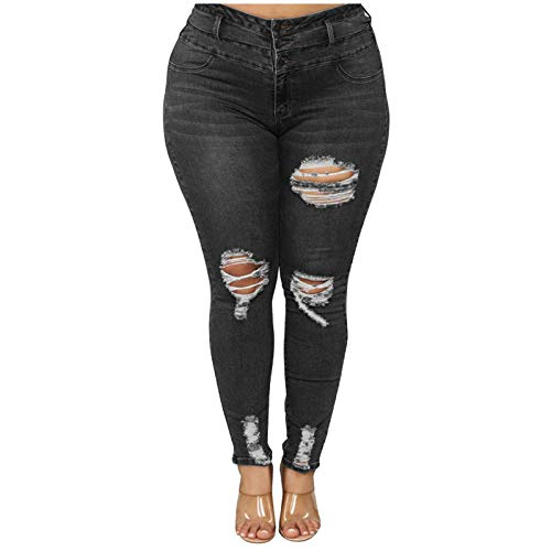 SSMENG Plus Size High Waist Button Pocket Pull-on Skinny Jeans Elastic Hole Jeans Trousers Slim Denim Pants for Women