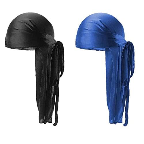 Larga Cola Durag Transpirables Waves Headwraps Durag Cap Bandana Turbante Sombrero 2pcs Azul Negro