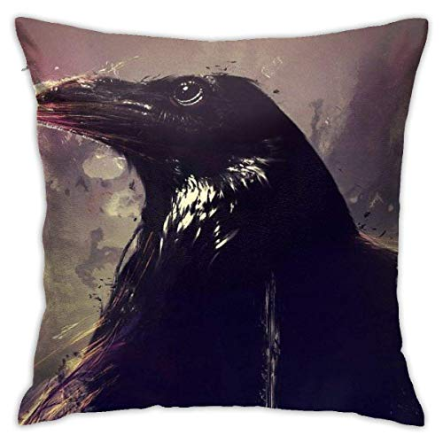 Throw Pillow Cover Cushion Cover Pillow Cases Decorative Linen The Crow Black for Home Bed Decor Pillowcase,45x45CM