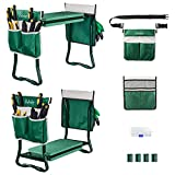 Upgraded Garden Kneeler and Seat,Heavy Duty Garden Bench with 2 Large Tool Pouches , Adjustable Belt Foldable Sturdy Gardening Tools Gifts for Gardeners