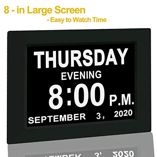 """Digital Calendar Alarm Day Clock - with 8"""" Screen Display, am pm, 5 Alarm, for Extra Impaired Vision People, The Aged Seniors, The Dementia, Wall Mounted, black"""