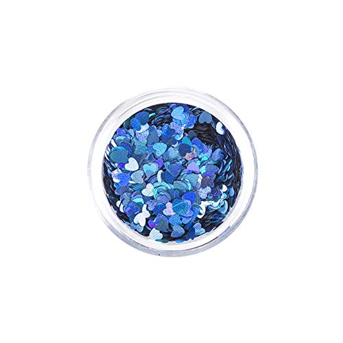 Art Factory Chunky Glitter - Coeurs holographiques bleus (10 ml), paillettes de polyester de grade cosmétique pour le visage, le corps et les cheveux