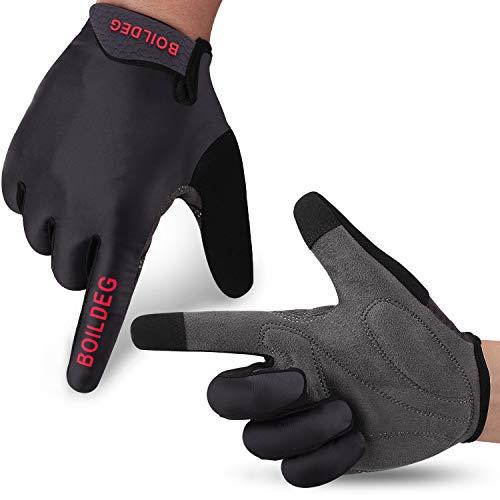 boildeg Fahrradhandschuhe Radsporthandschuhe rutschfeste und stoßdämpfende Mountainbike Handschuhe mit Signalfarbe geeiget Unisex Herren Damen (L, schwarz)