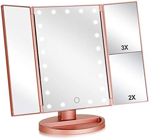 WXH-00 Espejo de vanidad iluminados tríptico con 3X / 2X Ampliación, 21 Luces y Pantalla táctil, 180 Grados Que giran libremente en el Espejo de la vanidad de la encimera