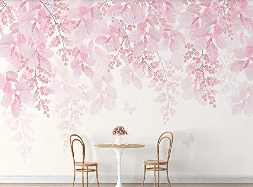 Tapete 3D Fototapete Handgemalte Rosa Blumen Des Einfachen Kirschbaums Wohnzimmer Schlafzimmer Büro Flur Wandbilder Moderne Wanddeko,200cmx140cm