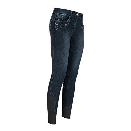 euro-star Reithose Kinder Becky Jeans Glitzer reiten Besatz Silikon blau