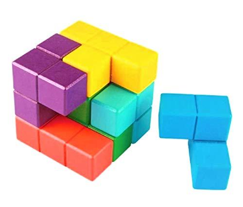 【ぴぴっと】 脳トレ 訓練 老化防止 木製 テトリスブロック 組立 カラフル キューブ 立体 パズル ゲーム 7pcs