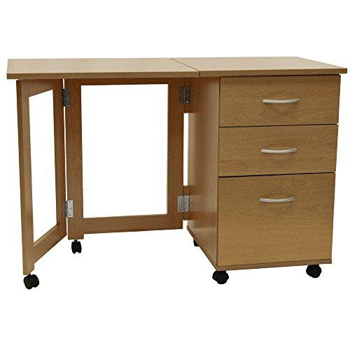 WATSONS FLIPP - 3 Drawer Folding Office Storage Filing Desk/Workstation - Oak