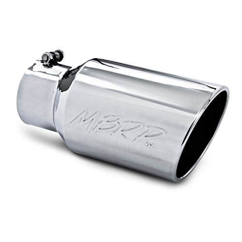 """Silver Diesel Exhaust Tip 5/"""" inlet 10/"""" Outlet 18/"""" Long Stainless Steel Bolt On"""
