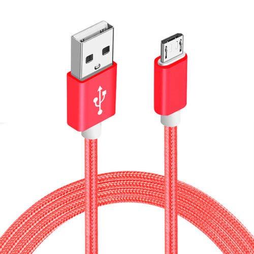 Sweet Tech Rot 1.5m Micro USB Nylon Umflochtenes Verwicklungssicheres Kabel Ladekabel Datenkabel Geeignet für Elephone C1 Max Phone 6