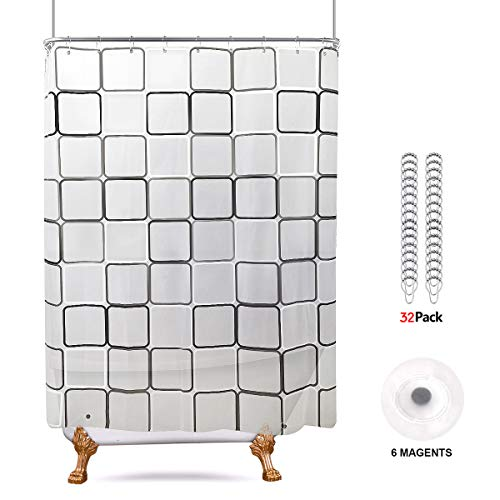 Riyidecor 180x70 Shower Curtain Clawfoot Tub with Magnets All Wrap Around Geometric Square Bathroom Decor Set PEVA Vinyl Extra Wide 32 Pack Metal Hooks