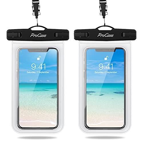 ProCase 2 Stück Wasserdicht Uni Handyhülle bis 6.9' Unterwasser Handytasche, Waterproof Phone Case für iPhone 12/11 Pro Max Samsung Galaxy S21/S20/A51/A12 und weiteren Smartphones -Klar