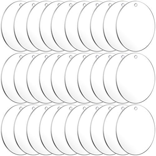 Acrylic Keychain Blanks, Audab 30PCS Bulk Acrylic Circles Clear Disc Ornaments Blanks with Hole for Vinyl, DIY Keychain and Craft Project (3 Inch, 30 Pcs)