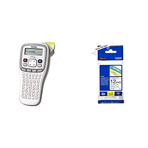 Brother PT-H105 Beschriftungsgerät (für 3,5 bis 12 mm breite TZE-Schriftbänder, bis zu 20 mm/Sek. Druckgeschwindigkeit) & TZe-231 P-Touch Schriftband (12mm breit, 8m lang, u.a.) schwarz auf weiß
