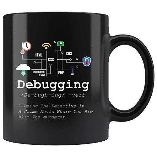 N\A Taza de definición de depuración Divertida programación de ti código de codificación Programador Taza de café Negro computadora binaria Profesor Estudiante Presente